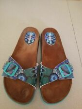 Desigual BIO Cork Slide Sandals Floral Squares blue & designs
