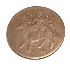 ANTIQUE 1818 EAST INDIA COMPANY, UK ONE ANNA SHERA WALI MATA ANTIQUE OLD COIN