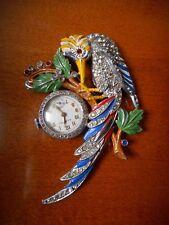 Art Deco Figural Bird Rhinestone Enamel Coq-D'Or Swiss Lapel Watch Works Rare