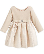 Baby Girls Dress Bonnie Baby Brocade Long Sleeve Gold Infant Size 18M