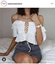 Neon Rose broderie White Cut Out Bardot Top Small