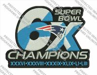 "SUPER BOWL 53 LIII CHAMPION PATCH 6X PATRIOTS 4"" SIZE NFL SUPERBOWL CHAMPS"