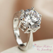 18K White Gold Plated Made With Swarovski Element 4 ct Engagement Wedding Ring