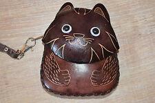 dulzura Monedero De Cuero Cartera Llavero gato marrón oscuro NUEVO