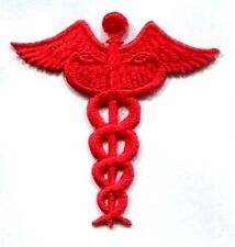 NURSE CADUCEUS red IRON ON APPLIQUE