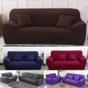 1/2/3/4 Seater Solid Sofa Cover Stretch Print Couch Slipcover Protector Easyfit