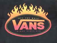 VANS - FLAMING SKATEBOARD LOGO - OFF THE WALL - SMALL BLACK T-SHIRT - S1880