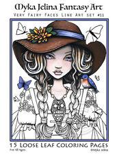 Myka Jelina Coloring Pages Fairy Faces Fantasy Art Big Eyed Fae Line Art Set11