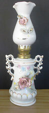 "Vintage 10"" Porcelain oil lamp white with gold trim,raised roses Japan"