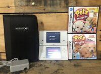 Nintendo DSi Lot TWL-001 White Game Console w/ Charge & 2 Games Petz Case Bundle