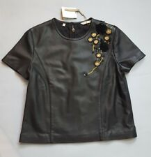 MASSIMO DUTTI LIMITED EDITION BLACK 100% LEATHER BLOUSE SIZE M MADE IN INDIA