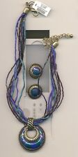 CHICO'S MULTI STRAND FANCY PENDANT NECKLACE/MATCHING EARCLIPS