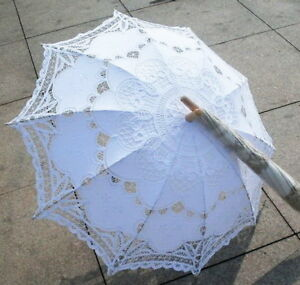 Outdoor Lace Cotton Embroidered Parasol Umbrella Bridal Wedding Party Decoration