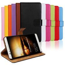 Luxus Echt Leder Wallet Flip Book Style Case Cover Schutz Hülle Etui Für Handy