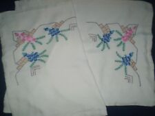 2 Beautiful Vintage Handmade Hand-Embroidered Pillows