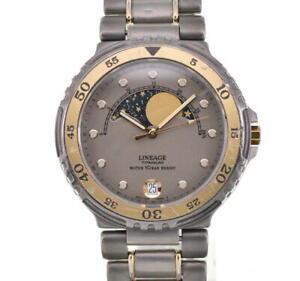 CASIO LINEAGE LIN-330W Beige Dial Titanium/GP Quartz Men's Watch W#90947