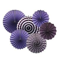 Hanging Paper Fan Decorations for Party Decor, 6pc Purple Birthday Bridal Shower