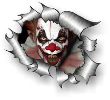 CLASSIC Ripped Open Torn Metal Rip & Scary Evil Horror Clown Vinyl car sticker