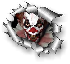 CLASSIC Ripped Open Torn Metal Rip & Scary Evil Horror Clown Vinyl car sticker