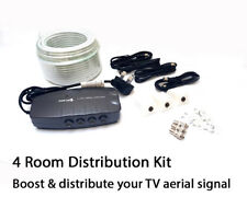 4 WAY TV aerial splitter amplifier freeview distribution booster box FM DAB KIT