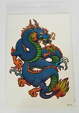 Two Pack Large Azure Guardian Blue Green Chinese Dragon 8 Inch Temporary Tattoos