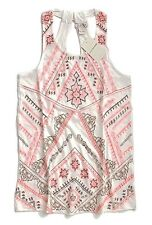 Lucky Brand - Womens L - Neon Coral Aztec Embroidered Racerback Tank Top