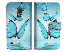 Cyan Butterfly Wallet Case Cover For Samsung Galaxy S5 - A019