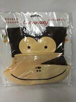 Monkey Soft Silicone Wipe Clean Waterproof Baby Bibs - BPA Free -Brown