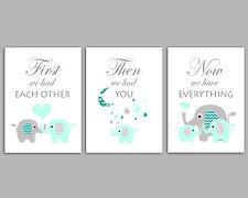 First We Had Each Other - Elephant Nursery Art - Grey & Mint Prints