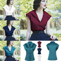 Elegant RED GREEN 50s Rockabilly Vintage Blouse Shirt Lapel Pinup Retro Tops