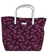 NWT GUCCI Betty Heart Canvas Shopping Tote Bag In Wine / Purple / White 282439