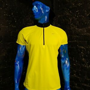 Nike Running Jersey with Zipped  424835-702 yellow Mens Size XL