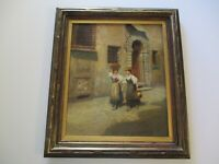 ORLANDO ROULAND OIL PAINTING ANTIQUE 19TH TO 20TH CENTURY IMPRESSIONIST VILLAGE