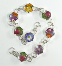 """925 sterling silver bracelet with hexagonal shape and real flowers 7"""" long"""