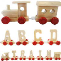 Wooden Toy Train Engine Alphabet Name Letters Children Gift Kids Learning Play