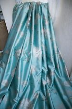 NEXT TEAL GREEN FLORAL & BIRDS CURTAINS,66WX72D,GOLD,FAUX SILK,LINED,P.PLEAT