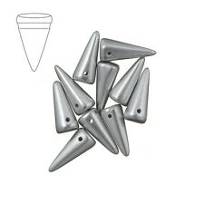 Czech Glass Spike Perline 7x17mm in Alluminio Argento Confezione da 10 (m40/3)