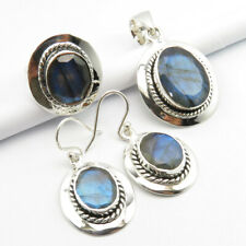 Solid Silver Earrings Pendant Ring #6 Real Blue Labradorite Jewelry Set ! 925