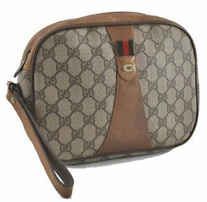 Authentic GUCCI Web Sherry Line Clutch Bag GG PVC Leather Brown Beige E0766