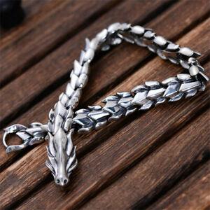 Viking Ouroboros Dragon scale Cuban Link Chain Men's Stainless Steel Bracelet