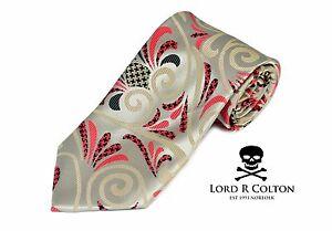 Lord R Colton Masterworks Tie Gold Pink Hysteria Check Silk Necktie - $195 New
