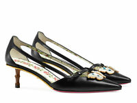 Gucci women's low heels pumps in black leather with butterfly Size UK 2 - IT 35