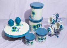 Vintage Tin Flower Pattern Nesting Canister Set w/ Extras Kitchen Set jds
