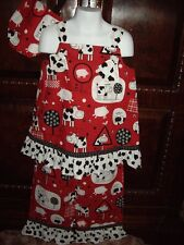 NWOT Girls Size 5 6 Custom Made Cow Print 3pc Set Swing Top Pants Purse Summer