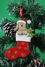 Personalised Dog in Red Stocking Christmas Tree Ornament Decoration - Resin