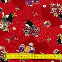 Red Japanese Dolls Butterfly Oriental Fabric Craft Cotton Fat Quarter FQ #F0014