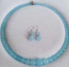 Charming 6-14mm Brazilian Aquamarine Round Beads Necklace 18'' Earrings Set AAA