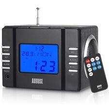 August MB 300 Radiowecker-MP3 Player / Stereoanlage komplett schwarz AUX SD USB
