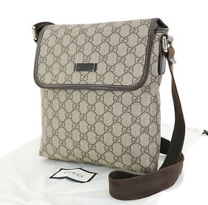 Authentic GUCCI Brown GG PVC Canvas and Leather Shoulder Bag Purse #33012