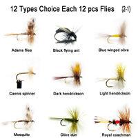 Aventik 12pc Fishing Flies Adams,Winged,Caenis spinner, dun,Sparkle,Hendrickson